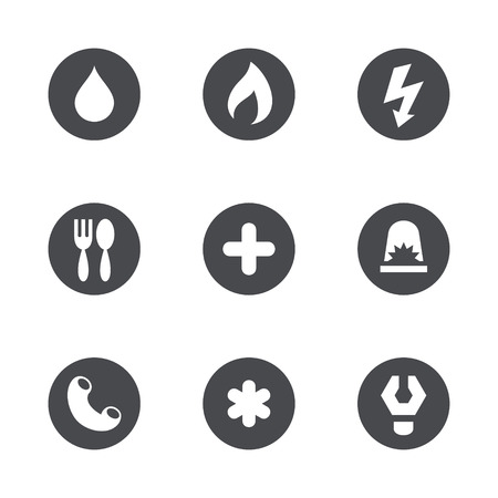 Collection of icons set of essential services and order Vector