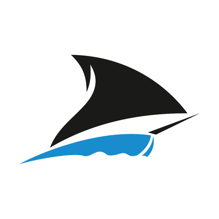 Identity corporate shark fin symbol Isolated on white background Illustration