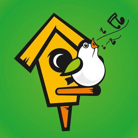 bird house: Illustration on the theme of spring, songbirds Illustration