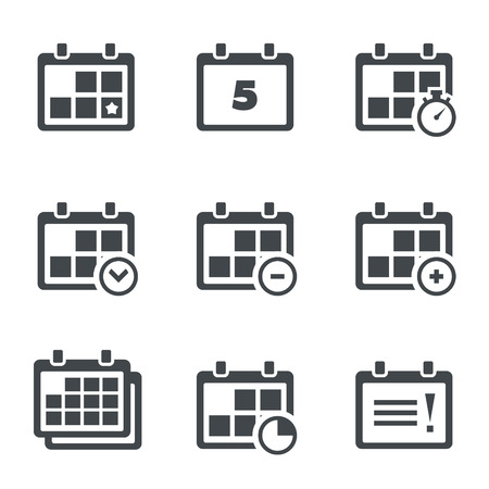 Set of icons on a theme the date, time, planning