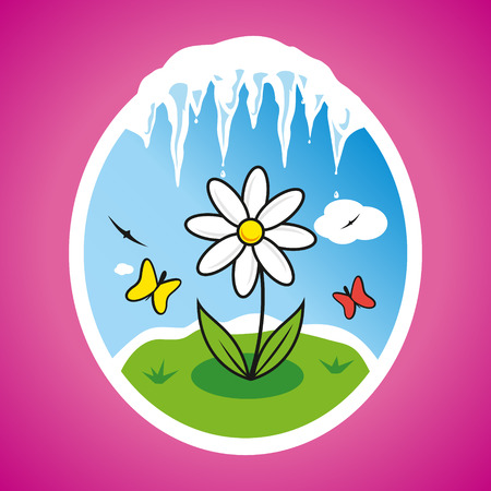 Chamomile flower on the lawn and icicles Vector