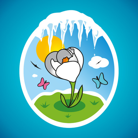 thaw: The first spring flower on the lawn and icicles Illustration