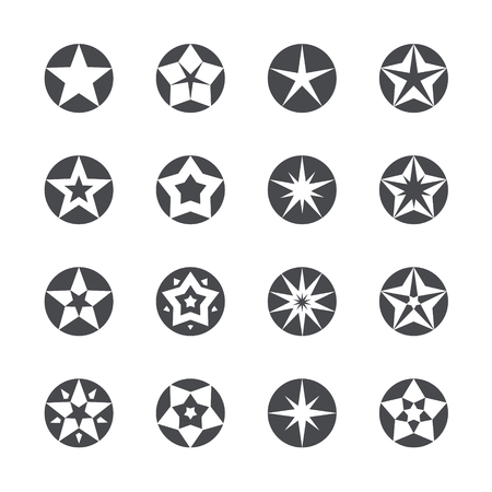inscribed: Set of different stars inscribed in a circle