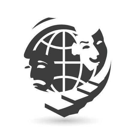 globe theatre: Identity corporate drama symbol Isolated on white background