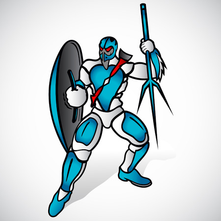 enemy: Alien warrior prepares for an attack on the enemy Illustration