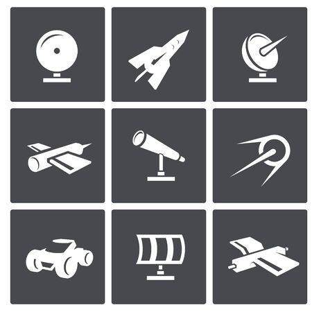 Collection of icons on a space theme Vector
