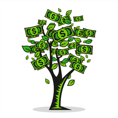 grow money: Tree Symbol of a prosperous and profitable business