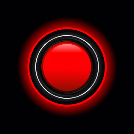 Stylish red button with the glowing outline around