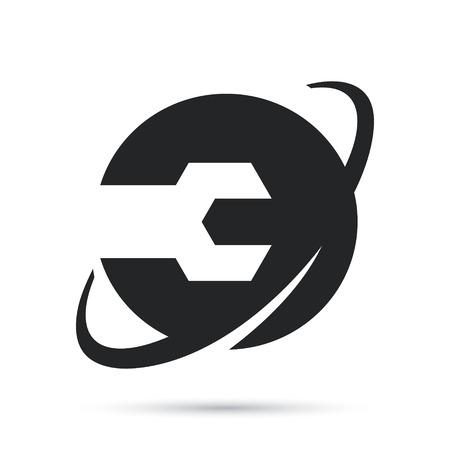 fibra óptica: Identidad de marca corporativa internet símbolo de mantenimiento aisladas sobre fondo blanco Vectores