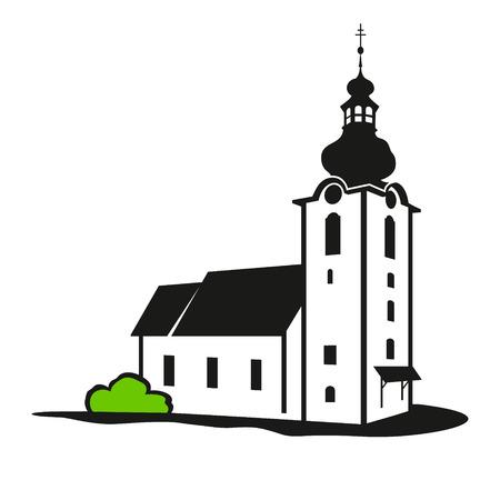 clergy: La iglesia se encuentra aislada en un fondo blanco