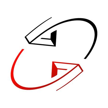 global direction: Branding identity corporate symbol isolated on white background Illustration
