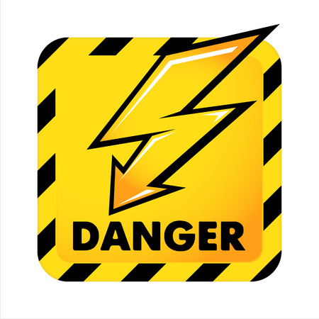 electroshock: Yellow dangerous button isolated on white background
