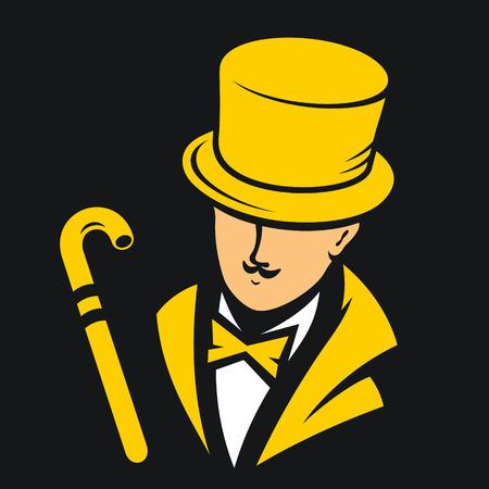 黒い背景に服と杖の紳士