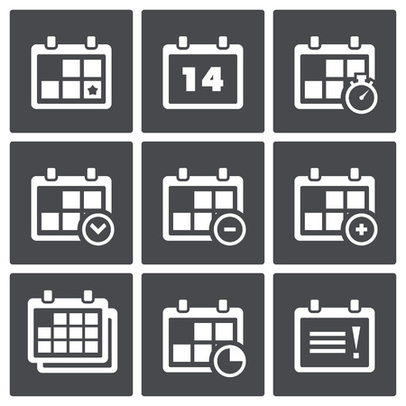 Set of icons on a theme the date, time, planning Vector