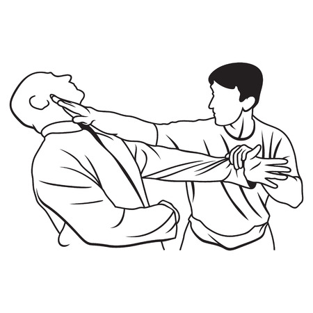 Two people work out techniques of martial arts Illustration