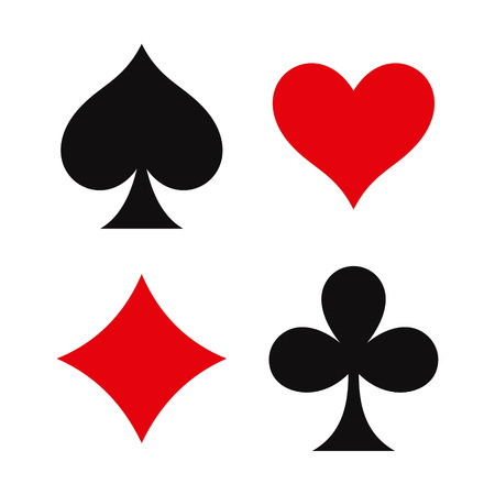 kartenspiel: Vier Spielkarten Symbole auf wei�em Hintergrund Illustration