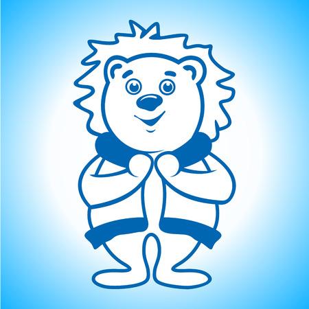 Polar bear in warm clothes Vector