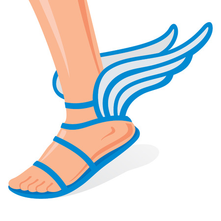 Winged sandals for men leg on a white background Vector