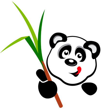 Panda with bamboo branch in his hand on a white background Vector