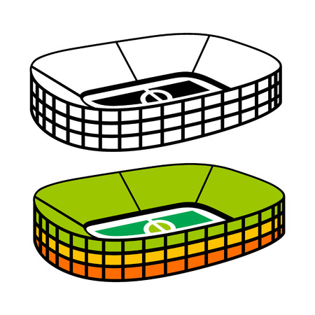 football stadium: Athletic football building on a white background