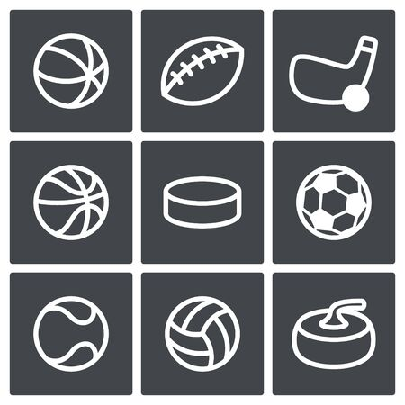 cons: Collection of sports symbols on a black background