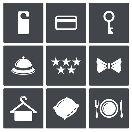 Hotel icon set on a dark background Vector