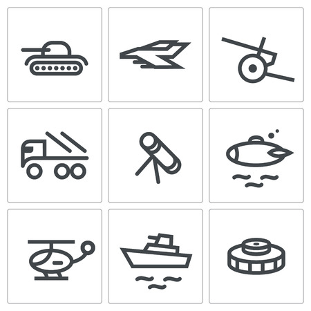 howitzer: Military icon set on a white background