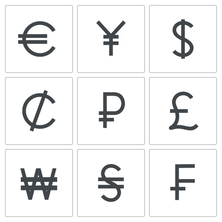 Currency icon set on a white background Vector