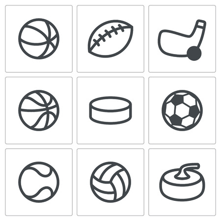 cons: Collection of sports symbols on a white background