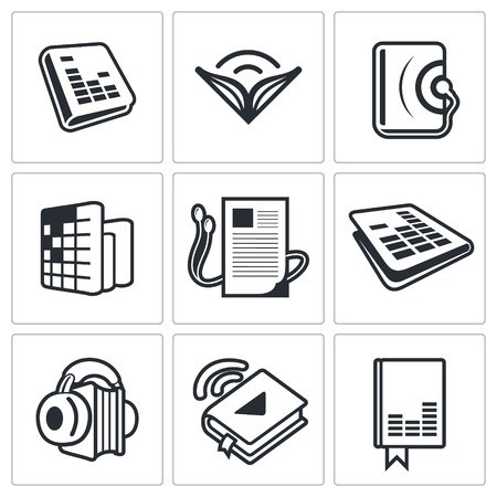 information technology logo: Audio book icon collection on a white background