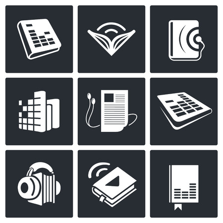 audio book: Audio book icon collection on a black background