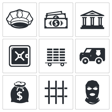 Bank icon collection on a white background Vector