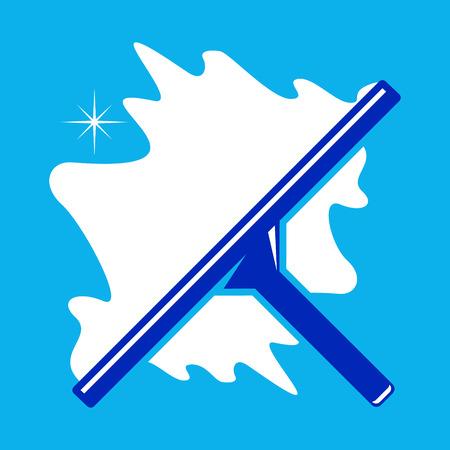 Dispositivo per la pulizia dei vetri finestra su uno sfondo blu