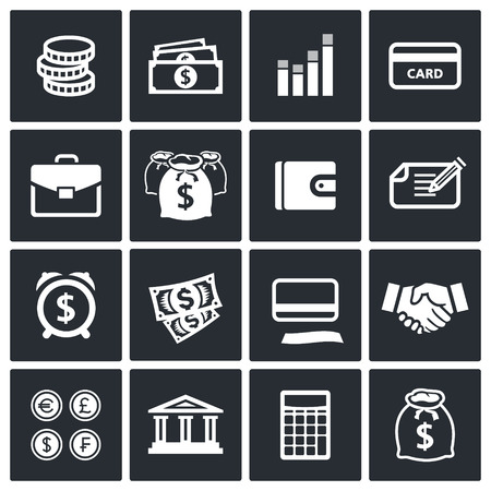 mallet: Money icon collection on a black background Illustration