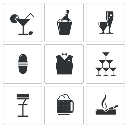 Bar icon collection on a white background Çizim