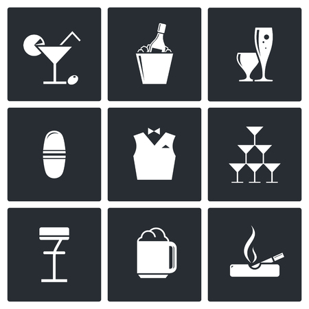Bar icon collection on a black background Vector