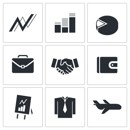 business icon collection on a white background Vector