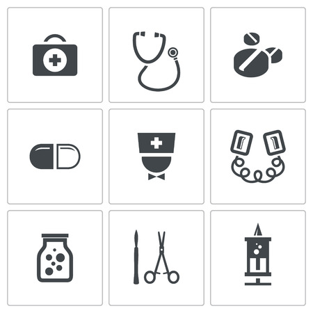 electroshock: Medicine icon set on a white background Illustration