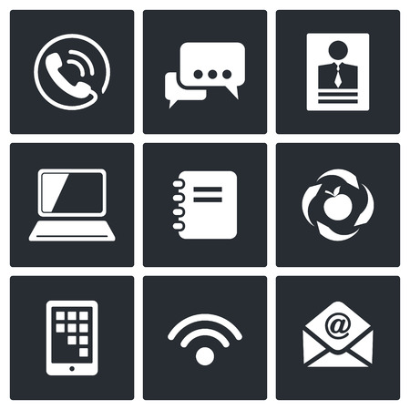 adress: Communication icon collection on a black background Illustration