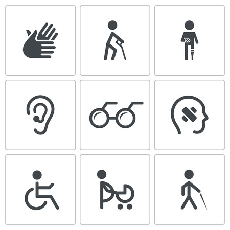 Disability icon collection on a white background Vector
