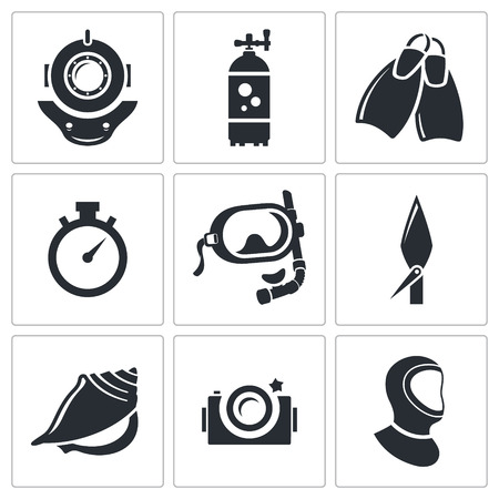 Diving icon collection on a white background Ilustração