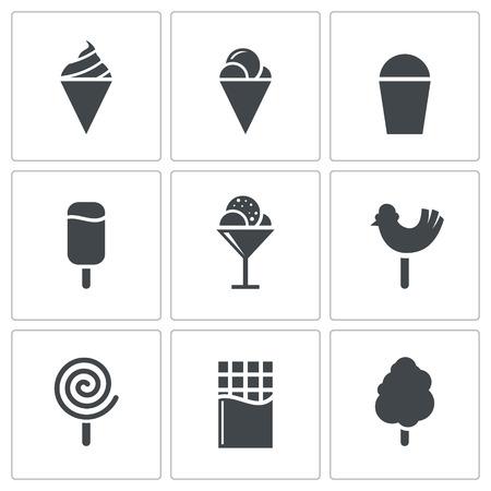 お菓子、アイス クリーム ホワイト バック グラウンド アイコン コレクション