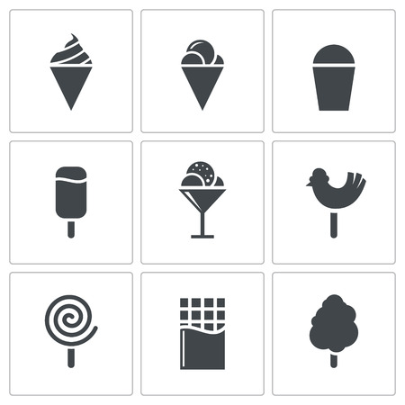 candy floss: Sweets and ice cream icon collection on a white background