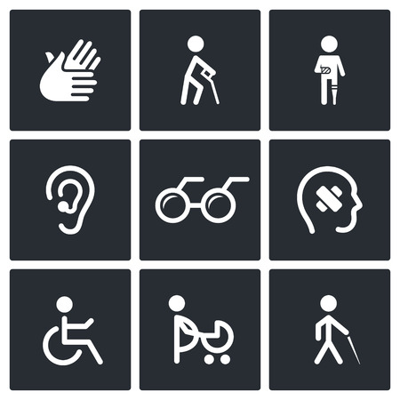disability: Disability icon collection on a black background