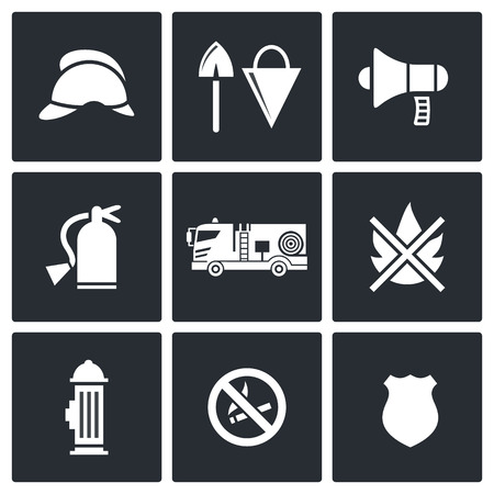 Service icon collection on a black background Vector