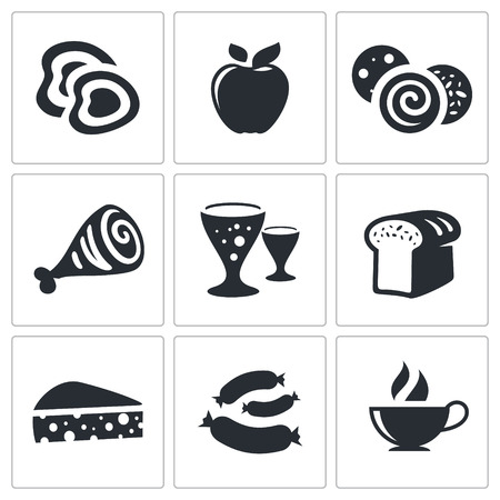 Food icon collection on a white background Vector