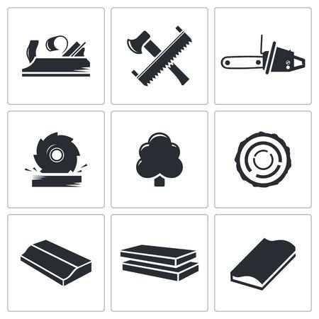 houtbewerking icoon collectie op een witte achtergrond Stock Illustratie
