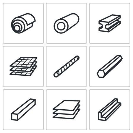 Industria metallurgica collezione di icone su uno sfondo bianco