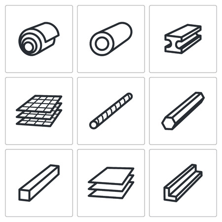 steel factory: Metal industry icon collection on a white background