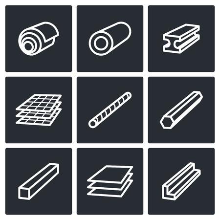 Metaalindustrie icon collectie op een zwarte achtergrond Stock Illustratie